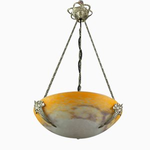 Glass Bowl Ceiling Lamp from Noverdy, 1920s
