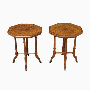 Victorian Style Occassional Tables in Burr Walnut, Set of 2
