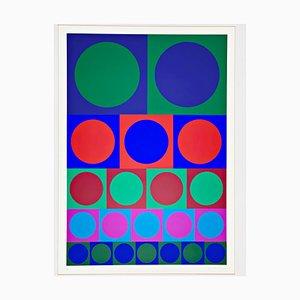 Stampa astratta serigrafata di Victor Vasarely, Op Art. XX Sec
