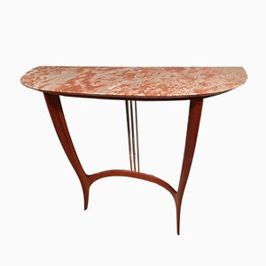 Mahogany & Brass Demilune Console Table with Pink Marble Top, 1950s