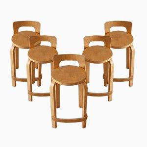 Sgabelli da bar K65 di Alvar Aalto per Artek, anni '50, set di 5