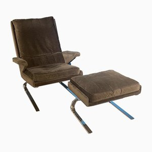 Cantilever Lounge Chair and Ottoman by Reinhold Adolf for Cor, 1970s, Set of 2