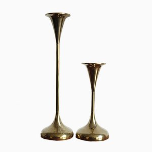Brass Candleholders, 1950s, Set of 2