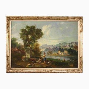 Pintura de paisaje, óleo sobre lienzo, siglo XX