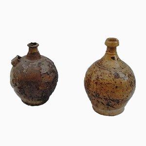 Glazed Earthenware Pots, 1920s, Set of 2