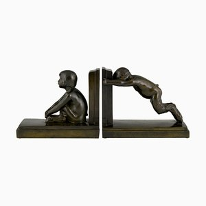 Art Deco Bronze Bookends of Boy and Girl Satyr by Paul Silvestre, 1920s, Set of 2