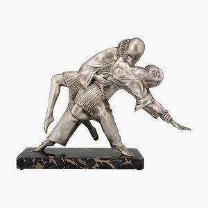 Art Deco Bronzeskulptur kubistischer Tänzer Pierrot und Colombine von Thomas François Cartier, 1930er