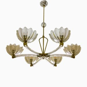 Brass & Glass Torchon 6-Arm Chandelier by Ercole Barovier for Barovier & Toso, 1940s