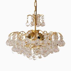 Große Mid-Century Messing & Kristallglas Deckenlampe von Christoph Palme