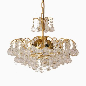 Large Mid-Century Brass & Crystal Glass Ceiling Lamp from Christoph Palme