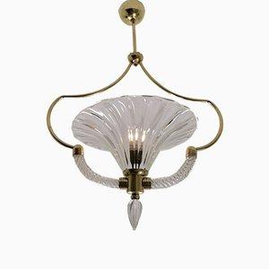 Lampada da soffitto grande Art Déco in vetro di Ercole Barovier per Barovier & Toso, anni '30
