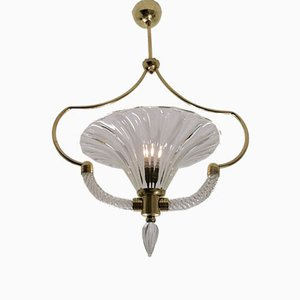 Large Art Deco Glass Ceiling Lamp by Ercole Barovier for Barovier & Toso, 1930s