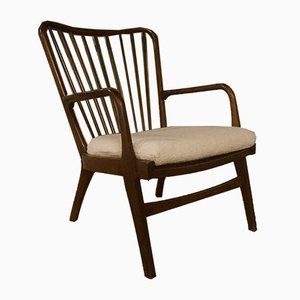 Vintage Dark Stained Beech Armchair by Hansen, Søren for Fritz Hansen