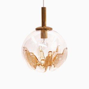 Lámpara de techo en forma de globo de cristal de Murano de Mazzega, años 70