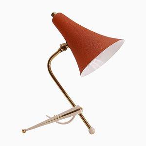 Mid-Century Dreifuß Tischlampe mit Orangefarbenem Schirm