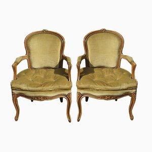 Louis XV Style Bergère Armchairs, 1960s, Set of 2