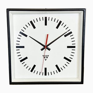 Black Industrial Square Wall Clock from Pragotron, 1970s