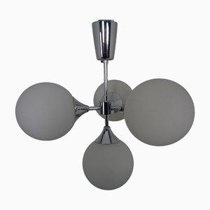 Space Age Sputnik Deckenlampe mit 4 Glaskugeln, 1960er
