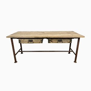 Vintage Industrial Dining Table with Drawers, 1960s