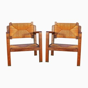 Wood and Straw Lounge Chairs, 1960s, Set of 2