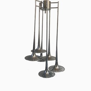 Mid-Century Chromed Steel Ceiling Lamp with 6 Trumpets