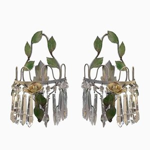 Green Lacquered Iron & Crystal Sconces, 1970s, Set of 2
