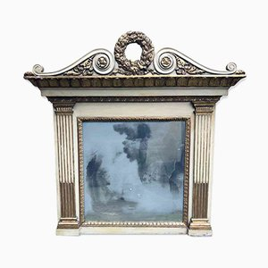 Antique Gilded and Lacquered Fireplace Mirror