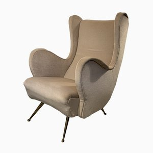 Reupholstered Powder-Colored Armchair, 1950s