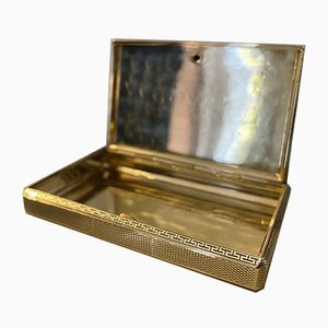 Art Deco Solid 585 Gold Pocket Case with Guilloche & Cabochon Sapphire, 1920s