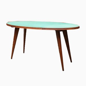 Italian Solid Beech Dining Table with Green Formica Top, 1950s