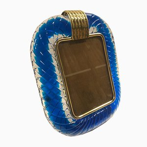 Blue Blown Murano Glass Picture Frame from Venini, 1950s