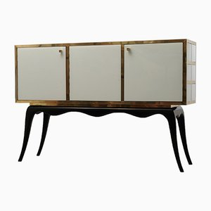 Venetian White Glass & Brass Squared Sideboard, 1950s