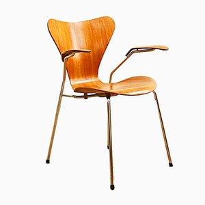 Teak Armlehnstuhl von Arne Jacobsen für Fritz Hansen, 1960er
