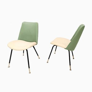 Green and Ivory Side Chairs by Gastone Rinaldi for Rima, 1950s, Set of 2