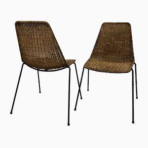 Esszimmerstühle aus Korbgeflecht von Gianfranco Legler, 1960er, 6er Set