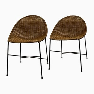 Wicker Chairs by George & Hermine Laurent, 1960s, Set of 2