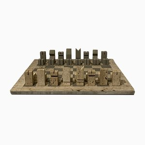 Mid-Century Travertine Checkerboard by Angelo Mangiarotti