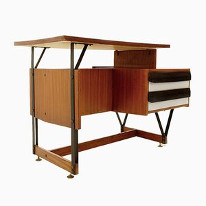 Small Wooden Writing Desk with Metal Structure, 1960s