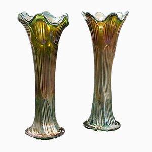 English Decorative Flower Vases, 1930s, Set of 2
