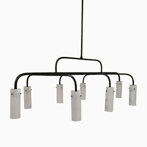 Mid-Century Painted Metal Tubes Ceiling Lamp with 8 Lights