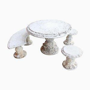 Tavolo da giardino neoclassico con due sgabelli, anni '30, set di 4