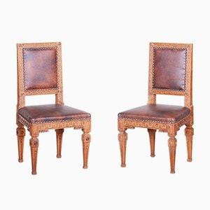 Czech Biedermeier Oak Dining Chairs, Early 19th Century, Set of 2