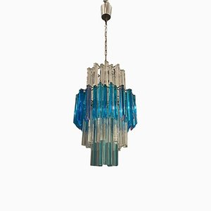 Large Blue Murano Prism Chandelier, 1970s