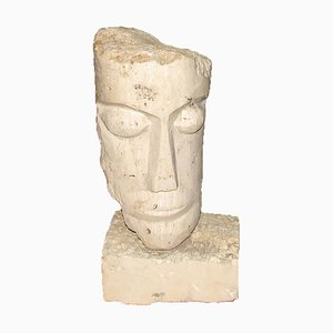 Cubist Carved Stone Sculpture of Man's Head by Mihai Vatamanu, 1960s