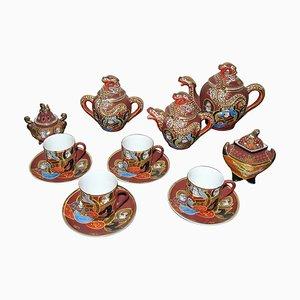 Japanese Geisha Lithophane Porcelain Tea Set from Satsuma, 1960s, Set of 13