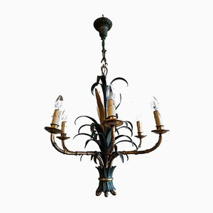 Mid-Century Bronze, Lacquered Iron & Faux Bamboo Chandelier