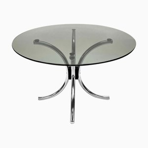 Chromed Steel Italian Coffee Table with Smoked Glass Round Top, 1970s