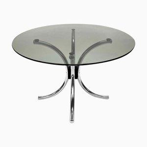 Italienischer Couchtisch aus verchromtem Stahl mit runder Tischplatte aus Rauchglas, 1970er