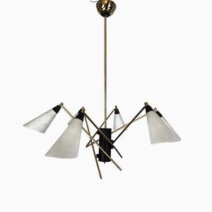 Large Italian Brass & Opaline Glass Chandelier, 1950s