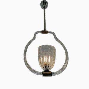 Lampada da soffitto Bullicante in vetro e torchon di Ercole Barovier per Barovier & Toso, anni '40